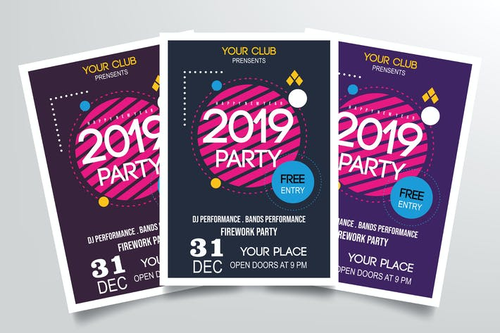 Cover Image For Happy New Year 2019 Party Flyer Template