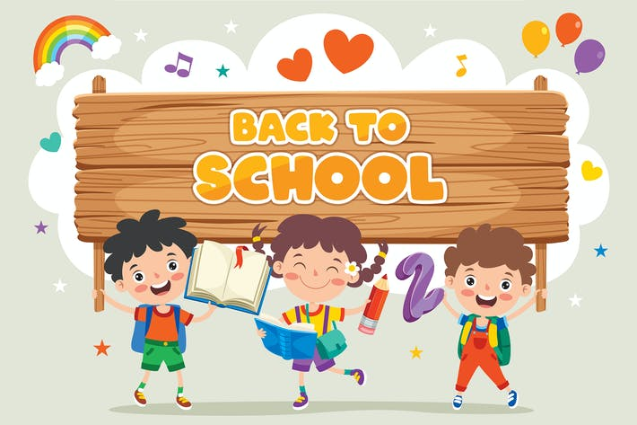 Back To School Concept With Funny Children