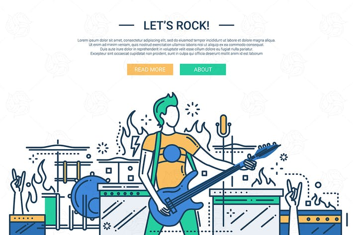 Thumbnail for Lets rock - line design website banner