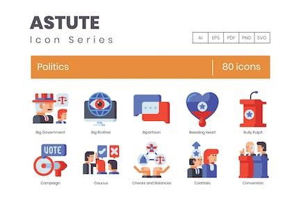 80 Politics Flat Icons