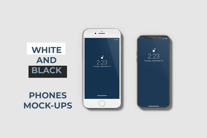 Thumbnail for White and Black Phone Mockups