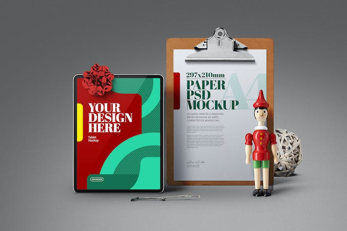 Thumbnail for Christmas A4 Clipboard Tablet Wood Toy Mockup