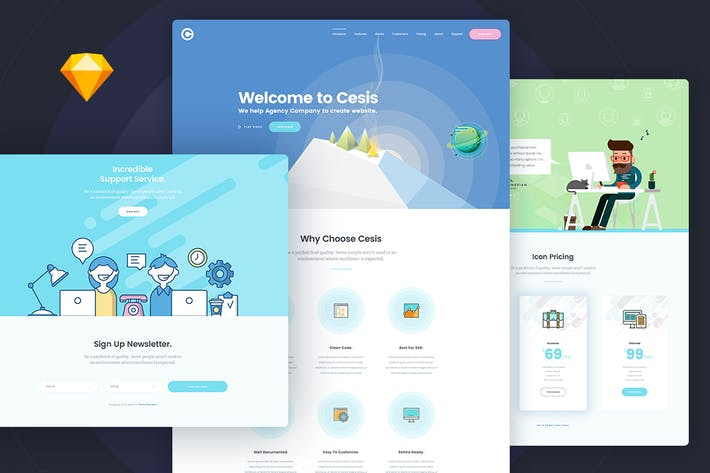 Thumbnail for Cesis Flat Style One Page Sketch App Template