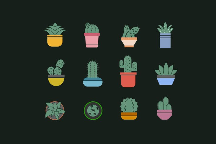 Thumbnail for 12 Succulent Icons