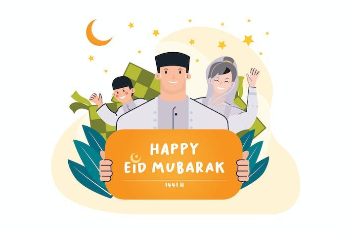 Thumbnail for Happy Eid Mubarak Illustration