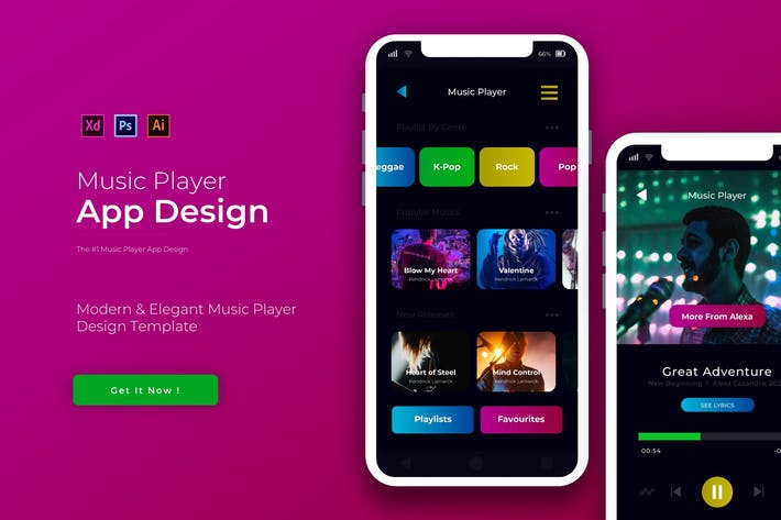 Thumbnail for Music Player | App Design Template