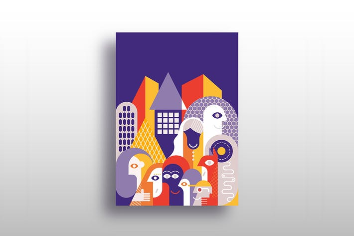Thumbnail for People on the city street, vector illustration