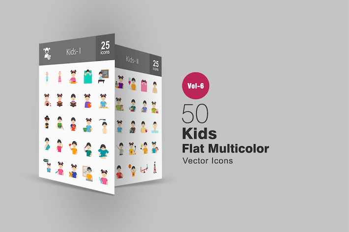 Thumbnail for 50 Kids Flat Multicolor Icons