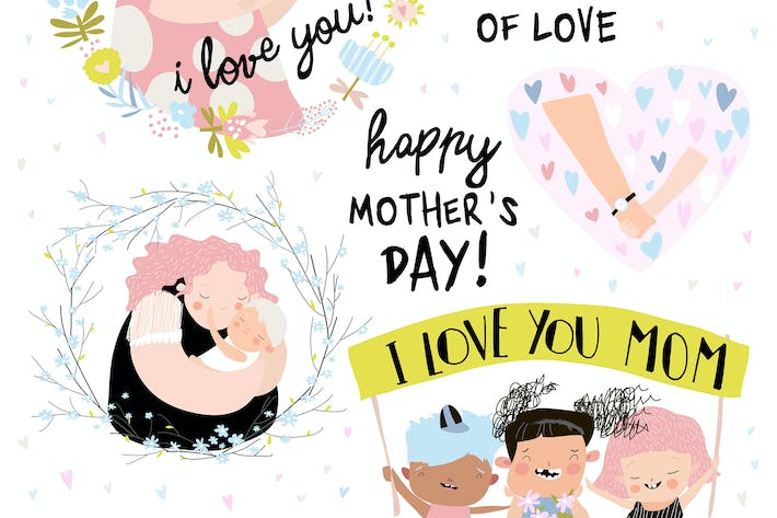 Thumbnail for Vector set of cute illustrations for Mothers Day