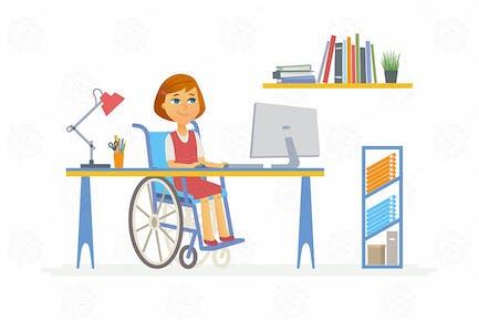 Online-Bildung - Zeichentrickfigur Illustration