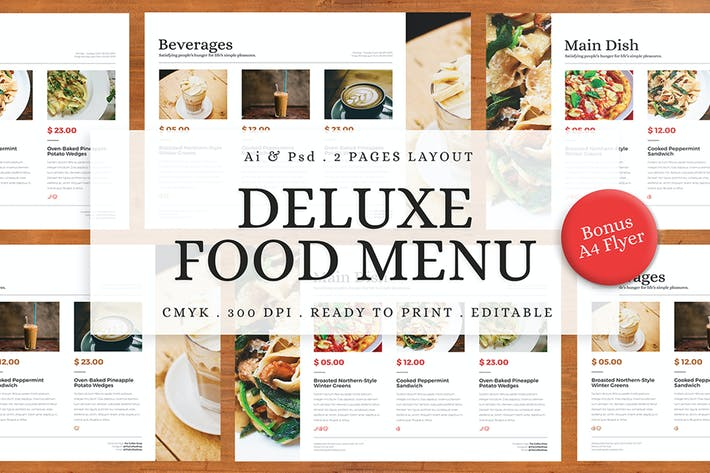 Cover Image For Deluxe Food Menu + Bonus A4 Flyer