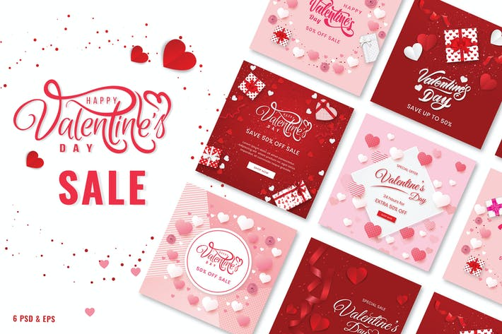 Thumbnail for Happy Valentine's Sale Banner Template