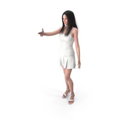 Mujer Muestra Gesto de Arma Dedo
