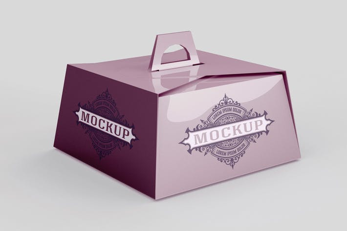 Pastry Box Mockup with Handle