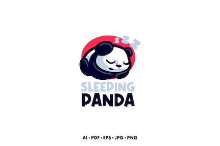 Sleeping panda Cartoon logo