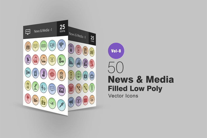 Thumbnail for 50 News & Media  Filled Low Poly Icons