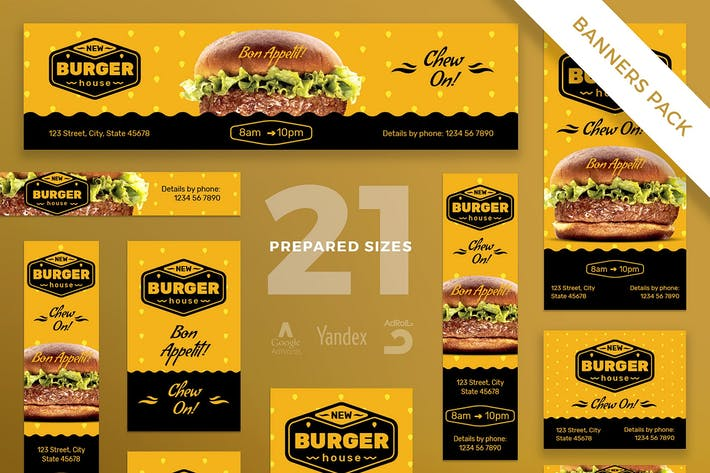 Thumbnail for Burger House Banner Pack Template