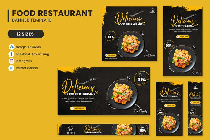 Food Restaurant Banner Set Template