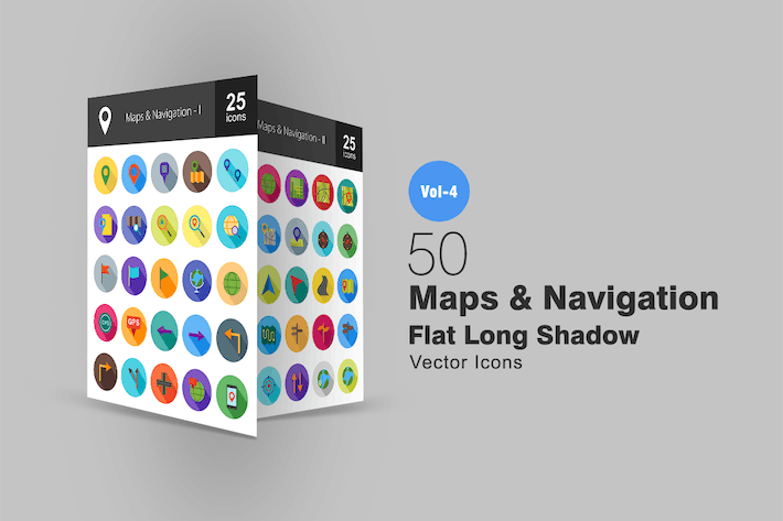 Thumbnail for 50 Maps & Navigation Flat Shadowed Icons