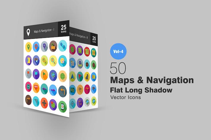 Thumbnail for 50 mapas y Íconos planos sombreados de navegación