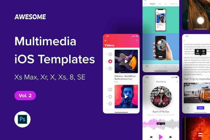 Thumbnail for Awesome iOS UI Kit - Multimedia Vol. 2 (Photoshop)