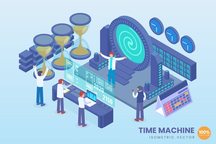 Thumbnail for Isometric Time Machine Technology Vector Concept