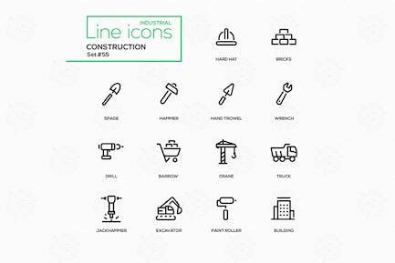 Construction - line design icons set