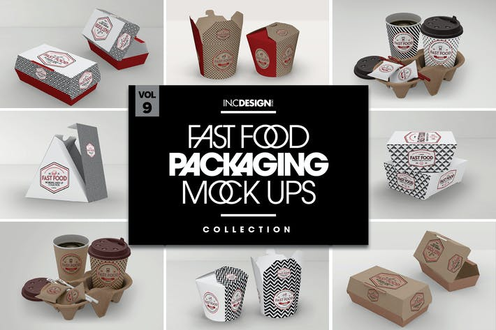 Thumbnail for Fast Food Boxes Vol.9: Take Out Packaging Mockups