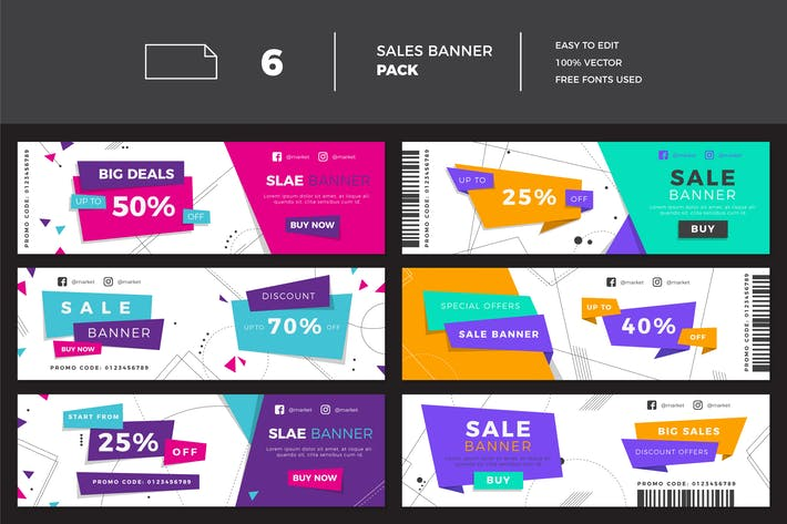 Thumbnail for Flat Modern Sales Banner Set