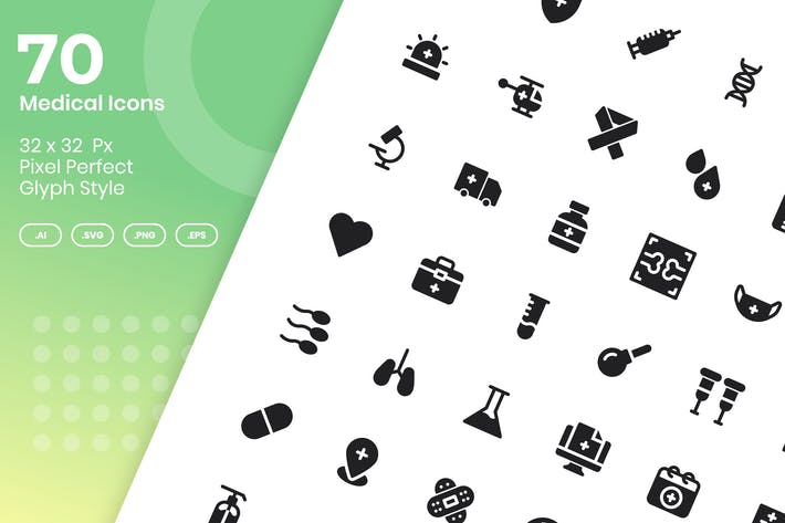70 Medical Icons Set - Glyph