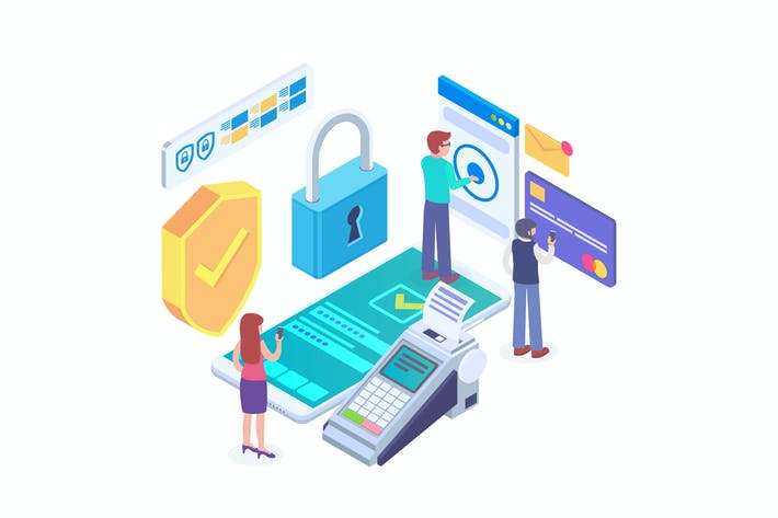 Thumbnail for Payment Security Isometric Vector 2