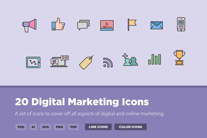 Thumbnail for 20 Icons für digitales Marketing