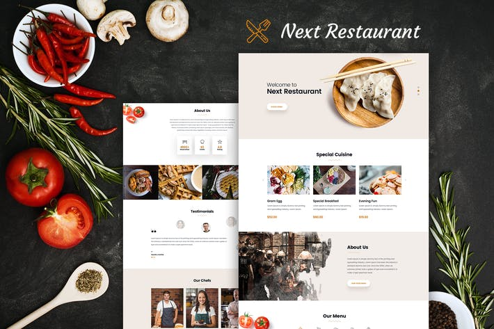 Thumbnail for Restaurant Online Reservation & Menu PSD Template