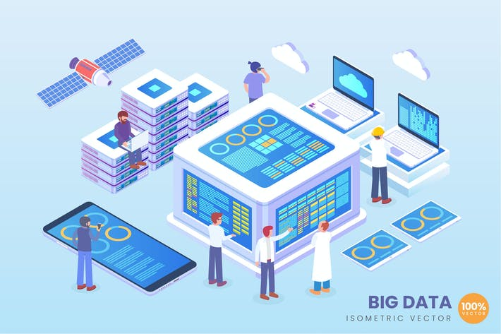 Isometric Big Data Vector Concept Illustration