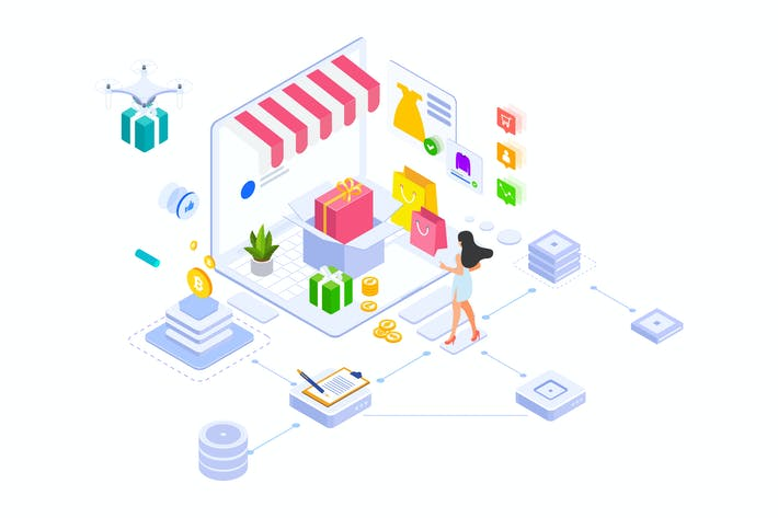 Thumbnail for E-commerce On Blockchain Platform Isometric - FV