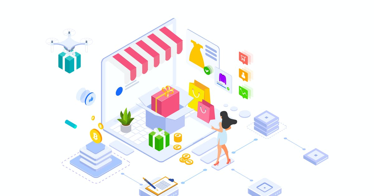 Download E-commerce On Blockchain Platform Isometric - FV by angelbi88
