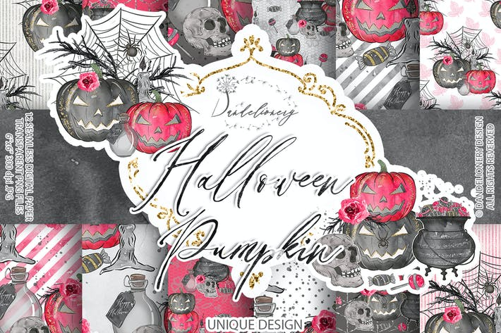 Cover Image For Cute Halloween digital paper pack