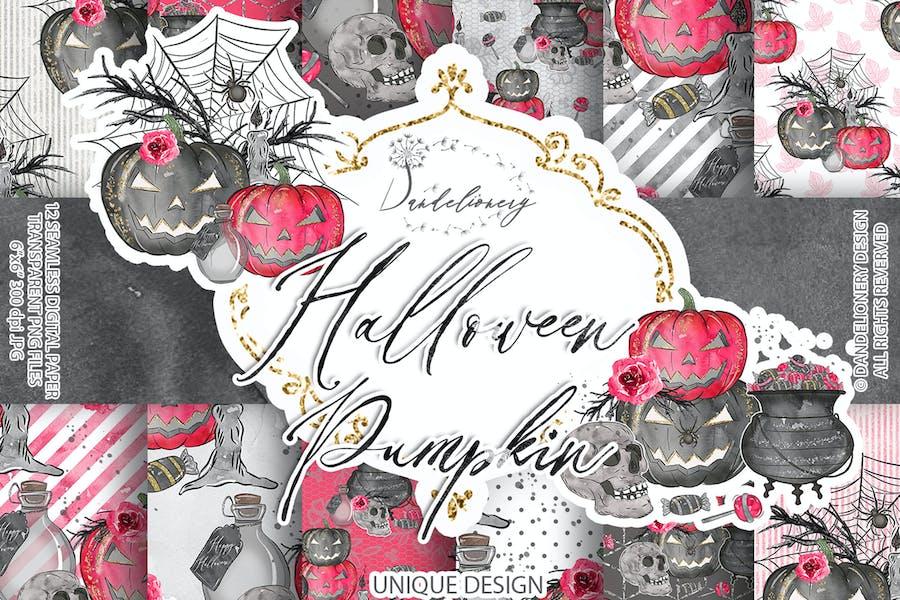 Cute Halloween digital paper pack