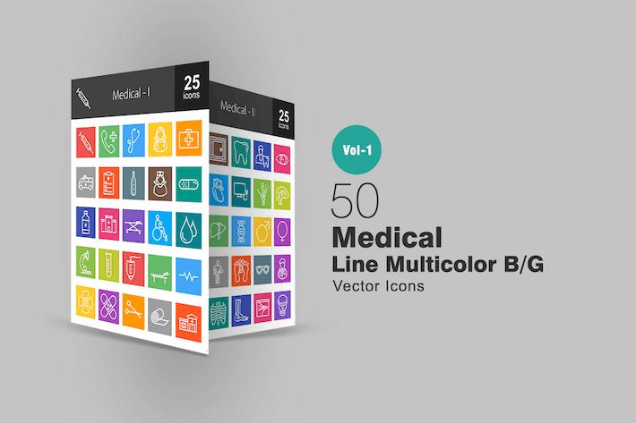 Thumbnail for 50 Медицинская линия Многоцветные Иконки