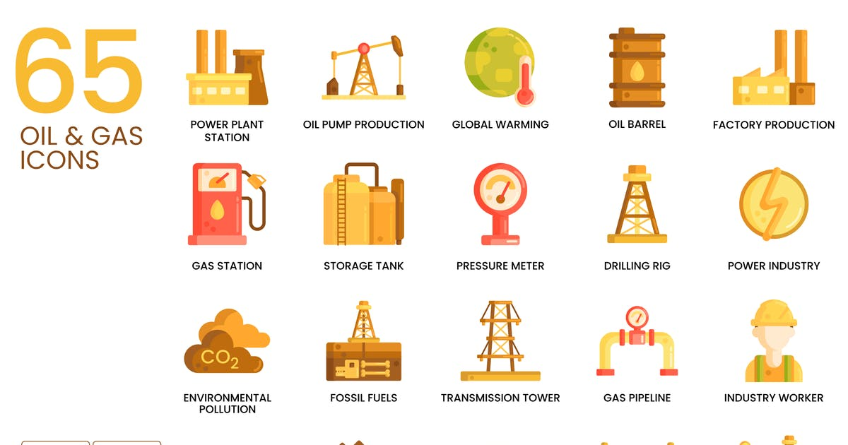 Download 65 Oil & Gas Icons | Caramel Series by Krafted