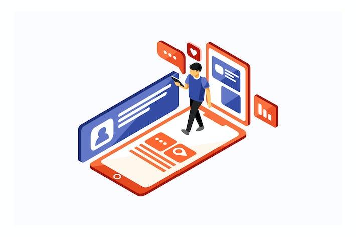 Thumbnail for Isometric Social Media Vector Illustration