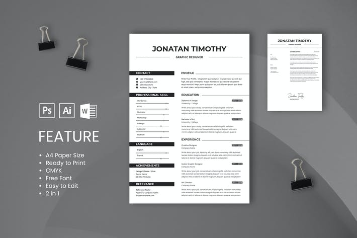 Thumbnail for Professional CV And Resume Template Jonatan Timoty