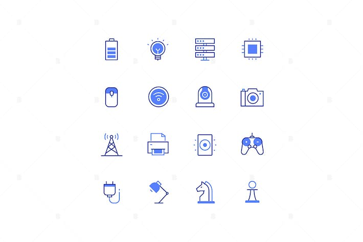 Thumbnail for Business and technology - line design style icons