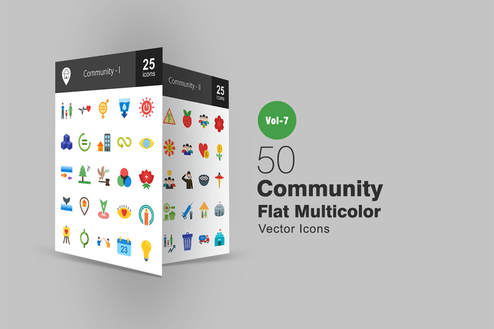 Thumbnail for 50 Community Flat Multicolor Icons