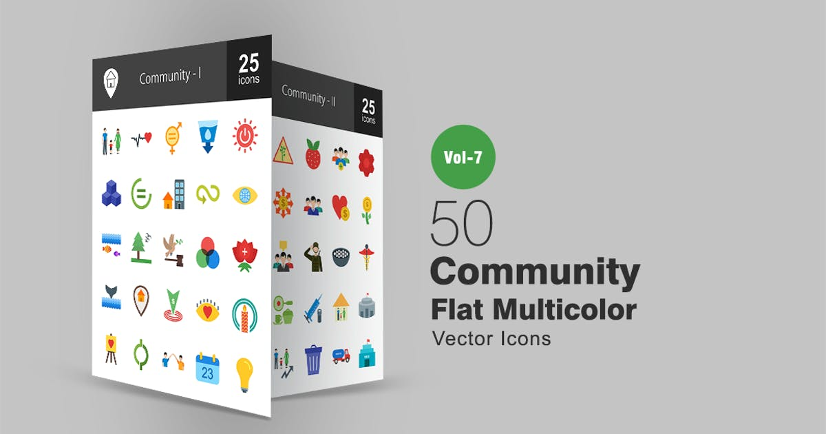 Download 50 Community Flat Multicolor Icons by IconBunny