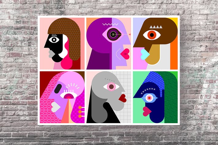 Thumbnail for Six Faces / Six Persons vector illustration
