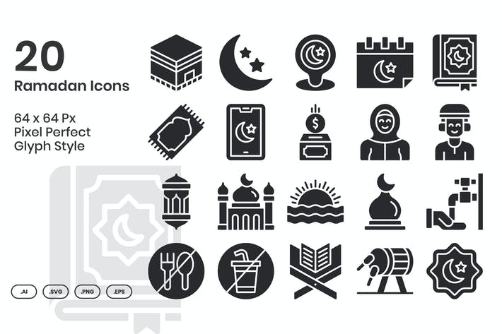 20 Ramadan Icons Set - Glyphe