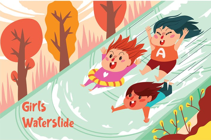 Thumbnail for Girls Waterslide - Vector Illustration