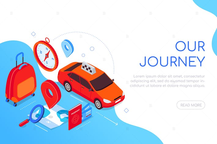 Thumbnail for Our journey - modern colorful isometric web banner