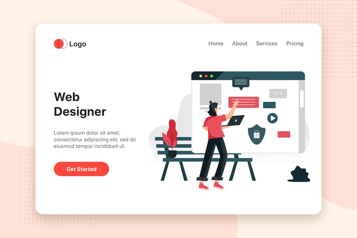 Thumbnail for Website designs flat concept for Landing page
